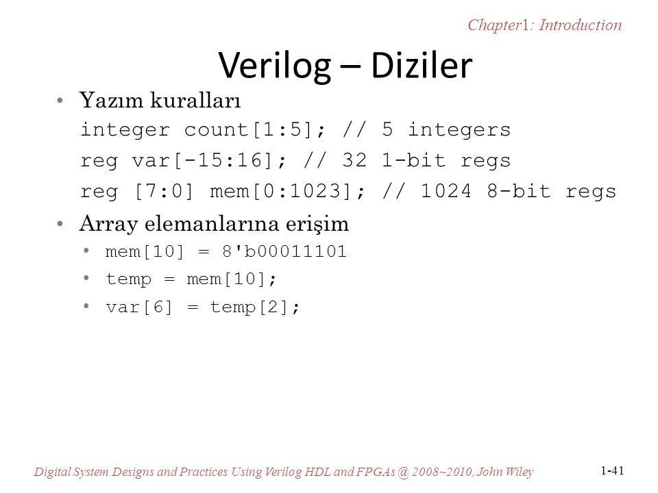Verilog – Diziler Yazım kuralları integer count[1:5]; // 5 integers